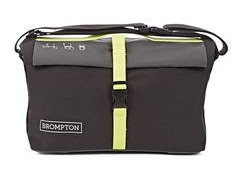 Brompton ROLL TOP BAG, GREY/BLACK/LIME GREEN, C/WCOVER & FRAME
