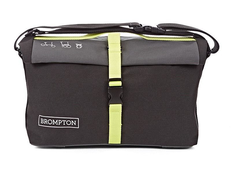 Brompton ROLL TOP BAG, GREY/BLACK/LIME GREEN, C/WCOVER & FRAME click to zoom image
